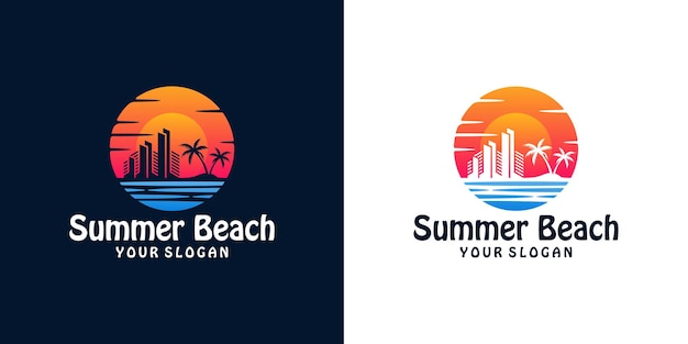 Sunset logo with silhouette of city building on seaside