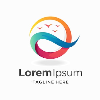 Закат логотип с концепцией волны