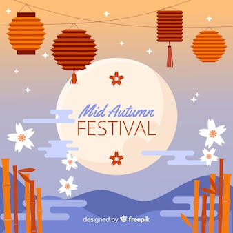 Sunset mid autumn festival background