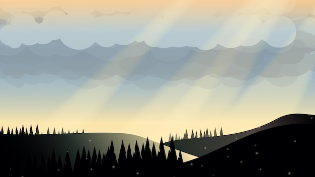 Закат горное озеро плоская векторная иллюстрация вечернего неба горы с солнечным светом кемпинг