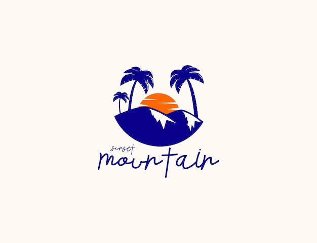 Sunset mountain and palm tree illustration logo design
