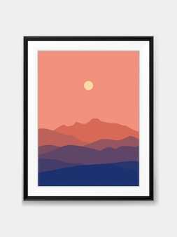 Sunset mountain view landscape minimal painting on wall with black frame