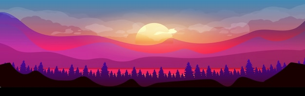 Sunset in mountains flat color vector illustration. coniferous forest. woodland on horizon. wild nature. fir trees and hills 2d cartoon landscape with sun and clouds in purple sky on background
