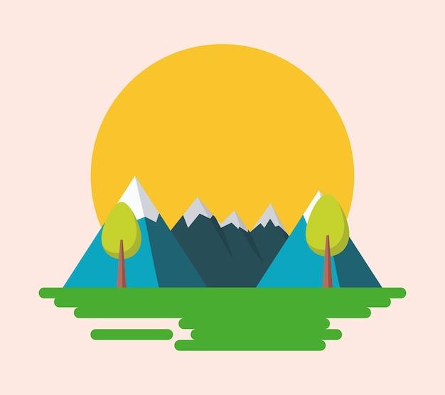 Sunset mountains landscape
