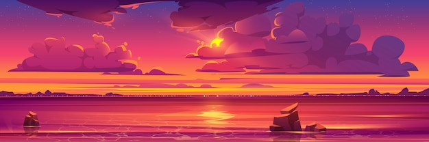 Sunset in ocean, pink clouds in sky with shiny sun