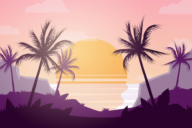 Sunset at the ocean with palm trees background