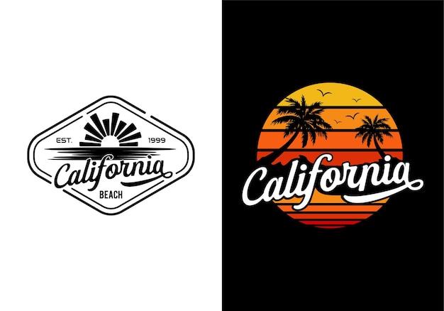 캘리포니아 해변 로고 디자인 영감 템플릿의 일몰