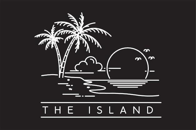 열 대 섬 해변에서 일몰