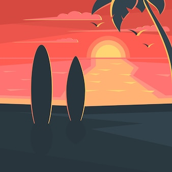Закат на пляже с серфингом и пальмой. морской пейзаж.