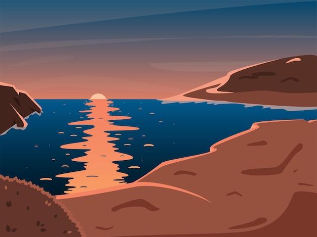 Закат на горном побережье. пейзаж в оранжевых и голубых тонах