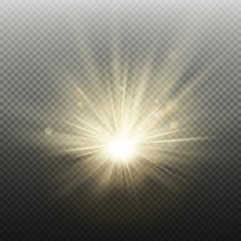 日没または日の出の金色に輝く明るいフラッシュ効果。光線とスポットライトで暖かいバースト。太陽の現実的なライトテンプレート。