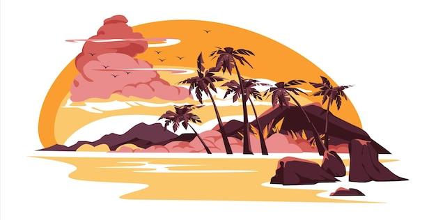ピンクの曇り空の下の海辺にヤシの木があるビーチの熱帯の風景に沈む夕日または日の出夕方または朝の牧歌的なパラダイス島のオーシャンフラット