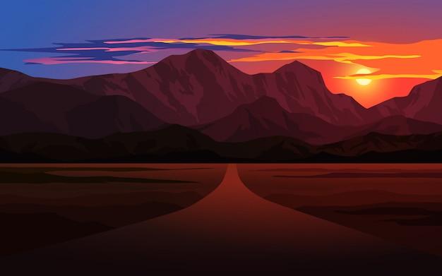 道路と山に沈む夕日