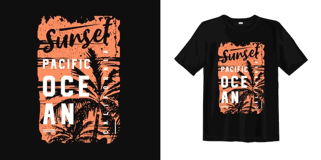 Sunset pacific ocean california with sunset and palm tree silhouette graphic tee