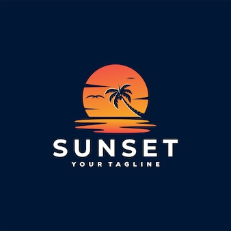 Sunset at paradise logo template