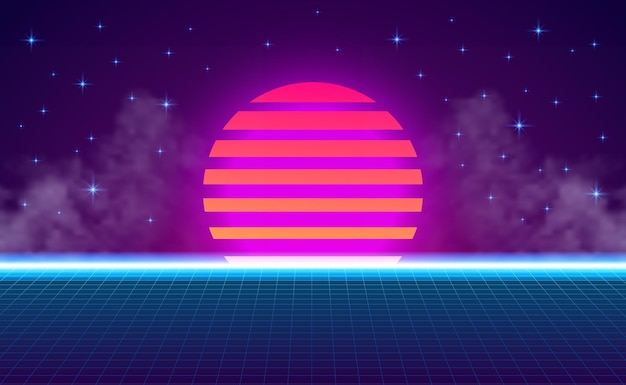Sunset perspective grid neon purple cyan gradient glow color. abstract retro 80s vintage style. abstract vibrant background
