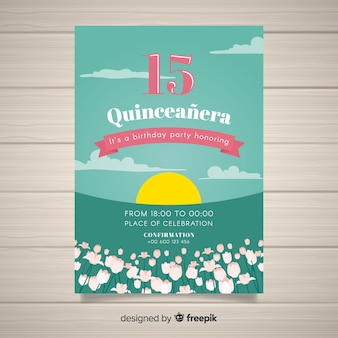 Sunset quinceanera card template