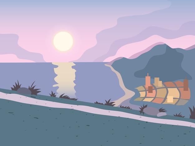 Sunset road illustration