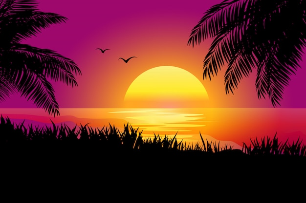 Sunset scenery with sea and palm silhouette