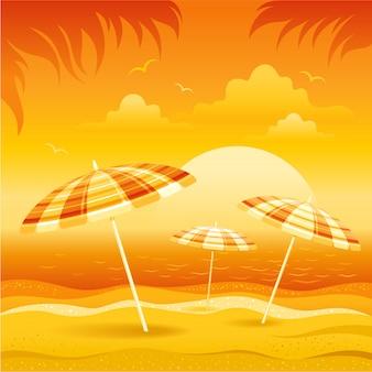 Sunset sea beach landscape with sun umbrellas.