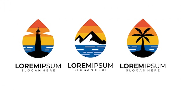 일몰, 바다, 산, 나무, 등 대 및 해변 로고 디자인