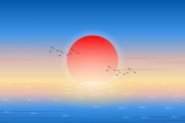Закатное небо и морской пейзаж