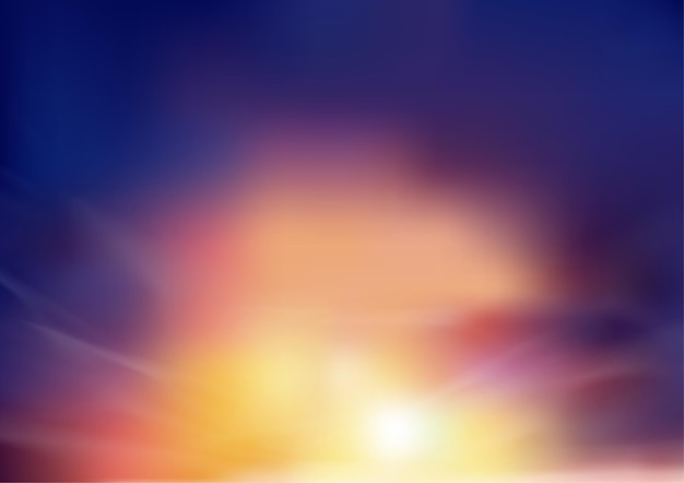 주황색, 노란색 및 보라색 색상으로 저녁에 일몰 하늘.