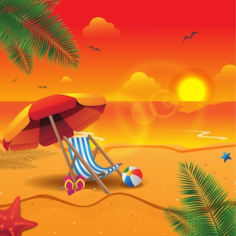Sunset summer beach bakground