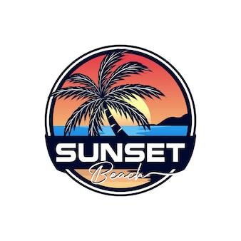 Sunset summer beach logo