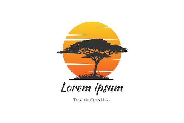 日没日の出アフリカアカシアの木の森のロゴデザインベクトル