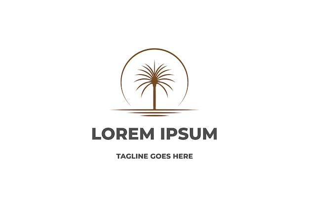 Закат восход солнца арабского ближнего востока пальмы финиковое дерево с вектором дизайна логотипа пустыни