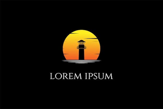 Закат восход маяка прожектор маяк башня остров пляже дизайн логотипа вектор