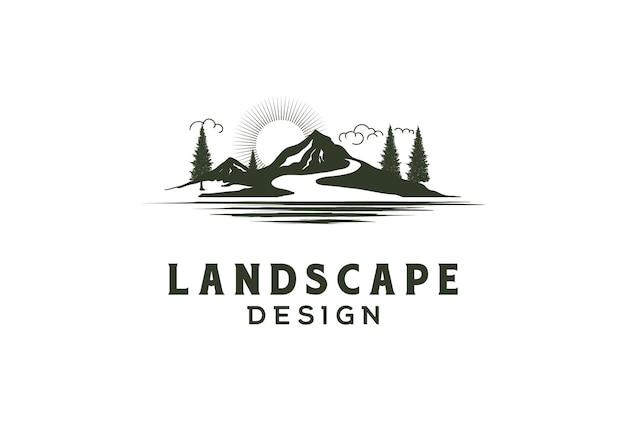리버 크릭 호수 풍경 보기 로고 디자인 벡터와 일몰 일출 산 언덕 소나무 숲