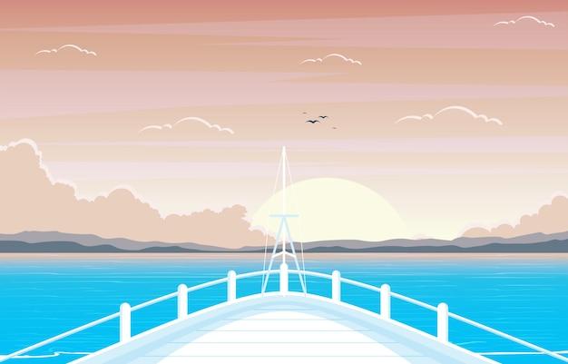 Закат восход море океан пейзаж вид на палубу круизного судна иллюстрация