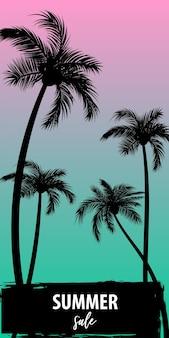 日没の日の出熱帯ヤシの木と葉の旅の楽園孤立したセット