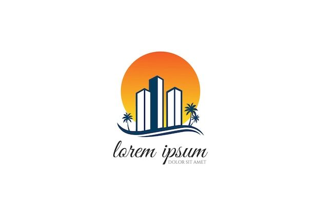 Sunset sunrise urban city apartment building real estate business chart with palm beach logo design vector