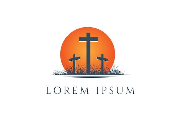 Sunset sunrise with jesus christian cross for crucifixion logo design vector