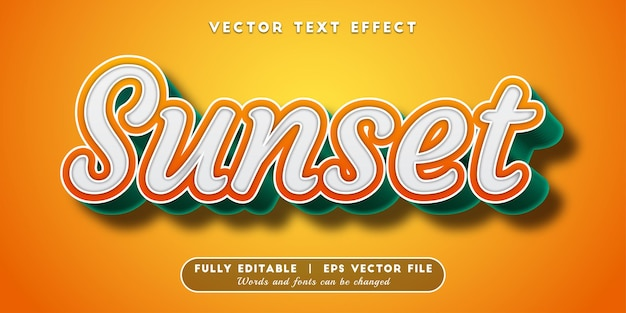 Sunset text effect with editable text style