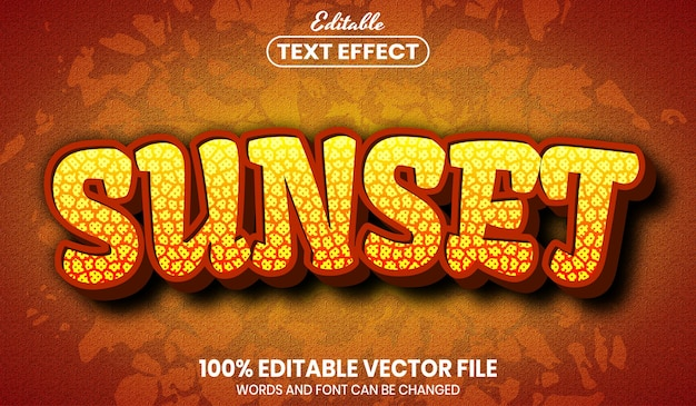 Sunset text, font style editable text effect