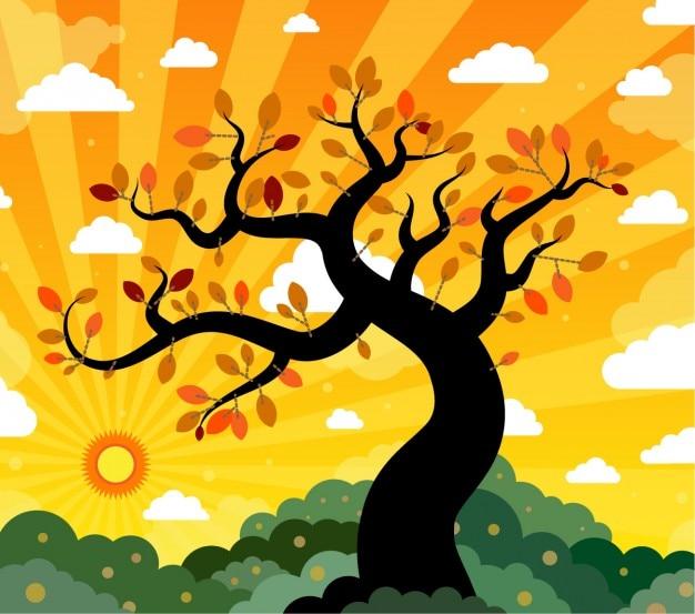 석양과 나무