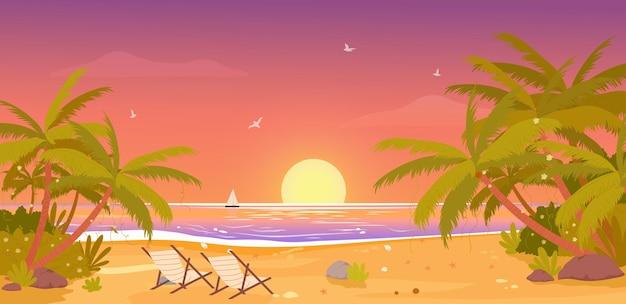 Sunset on tropical beach tropic paradise vacation landscape palm trees setting sun