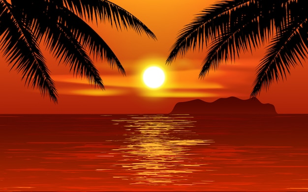 Sunset at tropical beach with palm trees