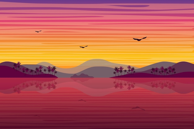 Sunset over tropical island landscape in flat style