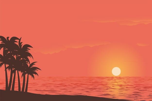 Вид на закат на красивом небе с пальмами