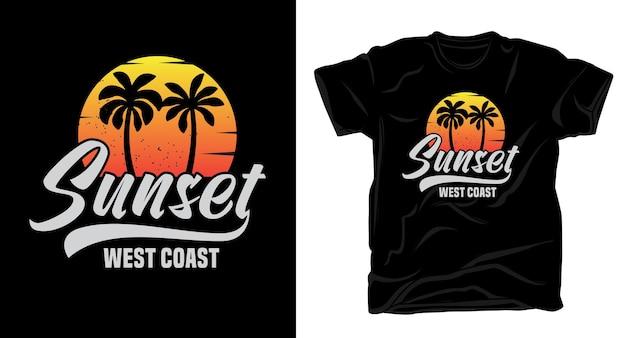 ヤシの木のtシャツのデザインと日没の西海岸のタイポグラフィ