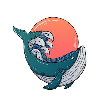 Иллюстрация закат китов