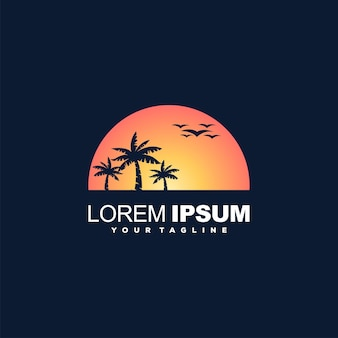 Sunset with coconut tree logo design vector