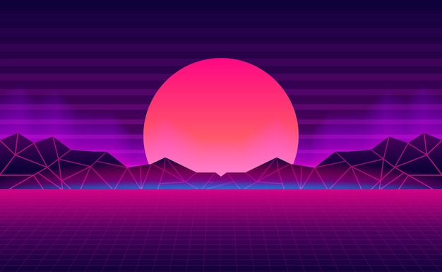 Sunset with mountain landscape retro background with pink and purple neon glow color