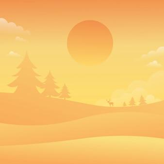Sunsey sky landscape nature background flat style vector illustration
