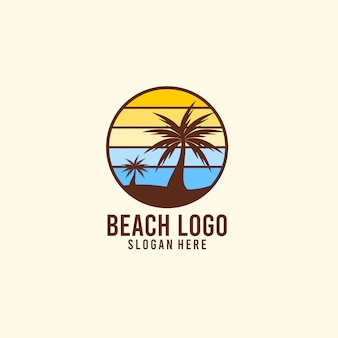 Sunshine and beach holiday logo